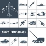 Army Icons Black Royalty Free Stock Photography