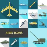 Army Icons Flat Royalty Free Stock Image
