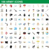 100 army icons set, cartoon style. 100 army icons set in cartoon style for any design illustration vector illustration