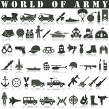 Army Icons Set. Collection Of Danger, Weapons, Rocket And Other Elements. Also Includes Symbols Such As Fighter, Knife, Skull stock illustration