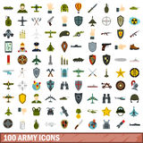 100 army icons set, flat style. 100 army icons set in flat style for any design vector illustration Royalty Free Stock Image