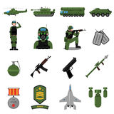 Army Icons Set. With weapons soldiers and equipment flat  vector illustration Stock Image