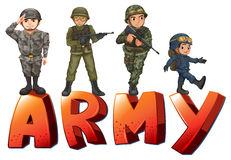 Army. Illustration a many soldiers with guns Stock Images