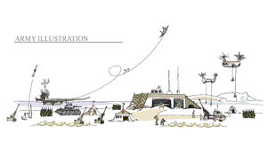 Army illustration. Army on move illustration, military concept Stock Photos