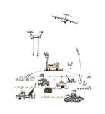 Army illustration. Army on move illustration, military concept Stock Images