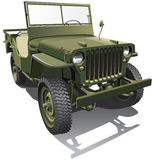 Army jeep. Detailed vector image of old army jeep - workhorse of the Allied forces in World War II, isolated on white background. File contains gradients and Stock Images