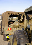 Army jeep on road to beach Royalty Free Stock Photo