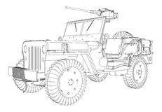 Army Jeep Vector. Army Armed Jeep Illustration Vector Stock Photography