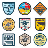 Army jet, aviation, air force vector labels, patch badges, emblems and logos set. Badge shield with wing illustration Stock Photo