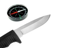 Army Knife And Compass Isolated Stock Photos