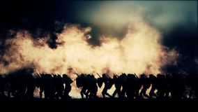 Army of Knights Marching Under a Massive Fire and Storm