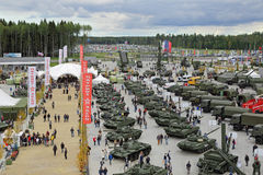 ARMY-2016. KUBINKA, MOSCOW OBLAST, RUSSIA - SEP 10, 2016: International military-technical forum ARMY-2016 in military-Patriotic park. Top view royalty free stock photography