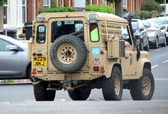 Army land rover defender Stock Image