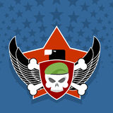 Army logo. skull is in charge on  shield. Against the backdrop o Royalty Free Stock Images