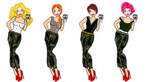 Army look. Fashion sketch style illustration Stock Images