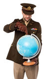 Army man holding globe tightly Stock Photos