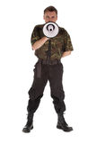 Army man with megaphone. Army man in camouflage shirt with megaphone Royalty Free Stock Photo