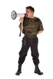 Army man with megaphone. Army man in camouflage shirt with megaphone Stock Images