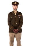 Army man posing isolated on white Royalty Free Stock Photography