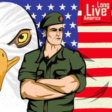 Army man on 4th of July Happy Independence Day America background. In vector Royalty Free Stock Photo