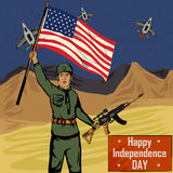 Army man on 4th of July Happy Independence Day America background. In vector stock illustration