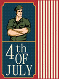Army man on 4th of July Happy Independence Day America background Stock Photos