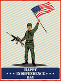 Army man on 4th of July Happy Independence Day America background. In vector vector illustration