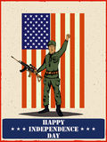 Army man on 4th of July Happy Independence Day America background. In vector Stock Images