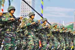 Army marching. 16th September 2011 , Kuala Lumpur, Malaysia : Commandos marched through at the Merdeka Square during the Malaysia National Day Celebration on the Stock Photos