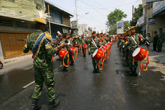 Army marching band. Performing in a parade in the city of Solo, Central Java, Indonesia Stock Image