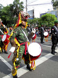 Army marching band. Were paraded on the streets in the city of Solo, Central Java, Indonesia Royalty Free Stock Photos