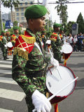 Army marching band. Were paraded on the streets in the city of Solo, Central Java, Indonesia Royalty Free Stock Photography