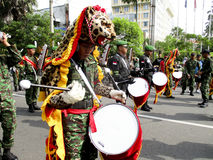 Army marching band. Were paraded on the streets in the city of Solo, Central Java, Indonesia Stock Images