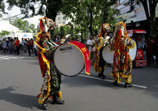 Army marching band. Were paraded on the streets in the city of Solo, Central Java, Indonesia Royalty Free Stock Photo