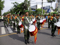 Army marching band. Were paraded on the streets in the city of Solo, Central Java, Indonesia Royalty Free Stock Image
