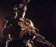 Free Army Marksman With Sniper Rifle In Darkness Stock Images - 168730884