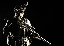 Free Army Marksman With Sniper Rifle In Darkness Stock Photo - 168730890