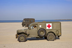 Army medical vehicle on beach Royalty Free Stock Photography
