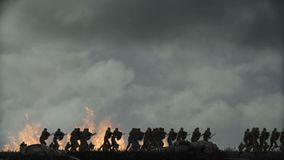Army of medieval Warriors Running to battle