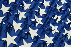 Army Men. Blue Army Men with white stars Royalty Free Stock Photo
