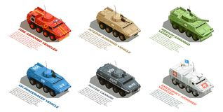 Army Military Vehicles Isometric Set. Army military armored vehicles with description isometric images collection with fire emergency and water cannon vector vector illustration