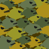 Army military camouflage from Piranha. Protective texture for so. Ldiers clothing from evil sea fish Royalty Free Stock Images