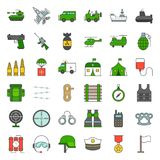 Army and military icon set. Filled outline design vector Royalty Free Stock Photography