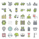 Army and military icon set. Filled outline design vector Stock Photography