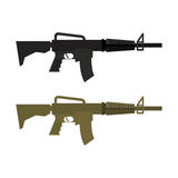 Army Military machine gun. Set of two martial infantry weapons. Royalty Free Stock Images