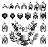 Army Military Rank Insignia. Set of military American enlisted army ranks insignia badges icons Stock Photos