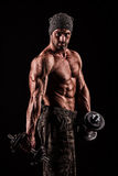 Army, military, strong man, weights, exercising, gym Royalty Free Stock Photo