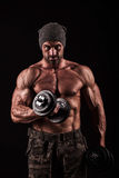 Army, military, strong man, weights, exercising, gym Royalty Free Stock Image