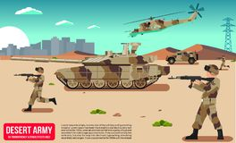 Army military vehicles with tank & soldiers in desert Royalty Free Stock Photos