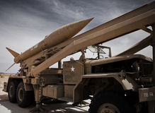 Army missile launcher. Army artillery missile launcher on display in the desert royalty free stock photography